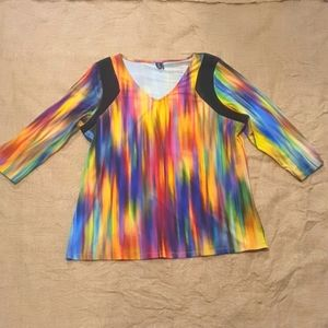 Size 16 psychadelic top with black mesh netting detail